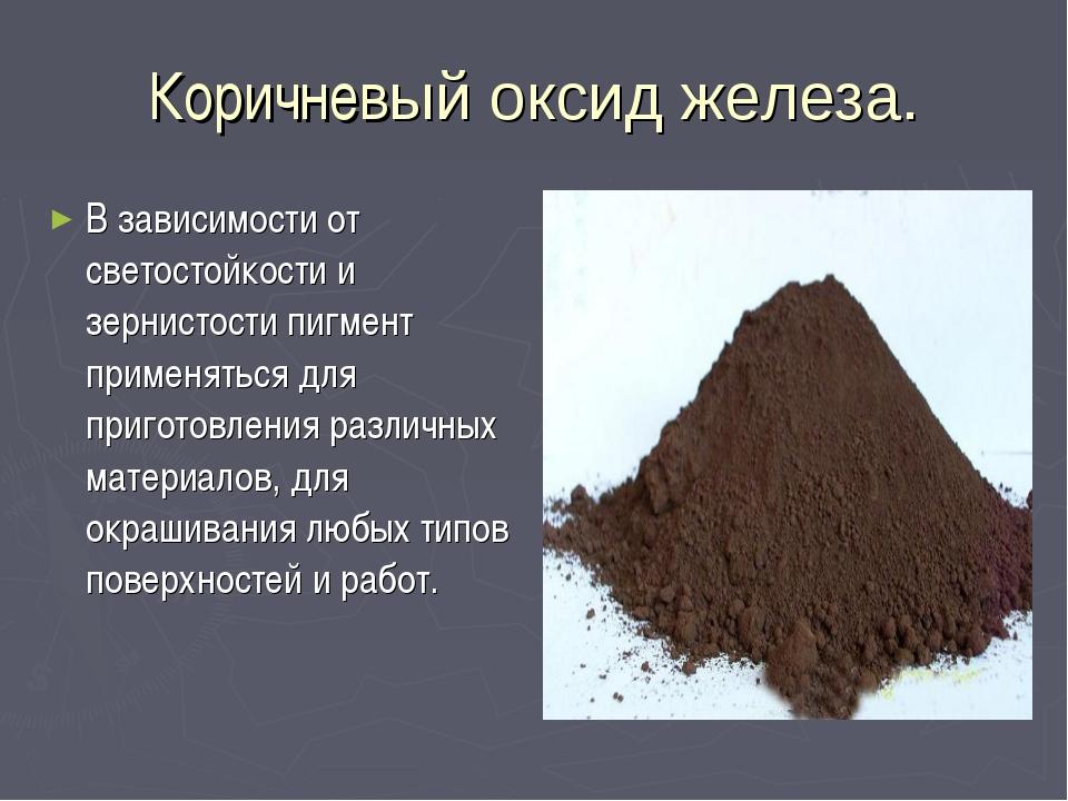 Коричневый оксид железа. В зависимости от светостойкости и зернистости пигмен...