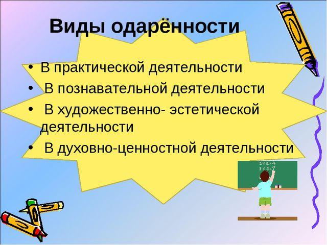 Виды одарённости В практической деятельности В познавательной деятельности ...