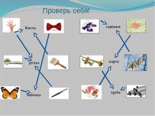 ручка Кисть  серёжки труба карта бабочка Проверь себя!