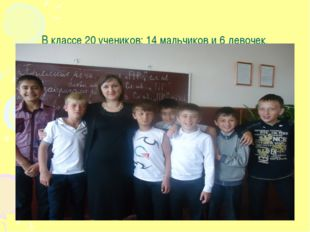 В классе 20 учеников: 14 мальчиков и 6 девочек.