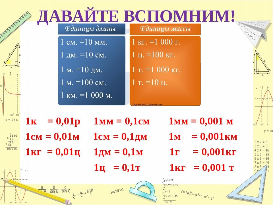 ДАВАЙТЕ ВСПОМНИМ! 1к = 0,01р 1мм = 0,1см 1мм = 0,001 м 1см = 0,01м 1см = 0,1д...