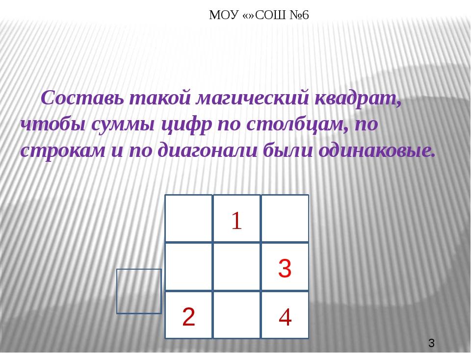 Составь такой магический квадрат, чтобы суммы цифр по столбцам, по строкам...