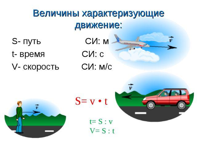 Величины характеризующие движение: S- путь СИ: м t- время СИ: с V- скорость С...