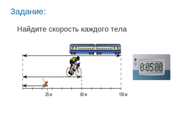 Задание: Найдите скорость каждого тела