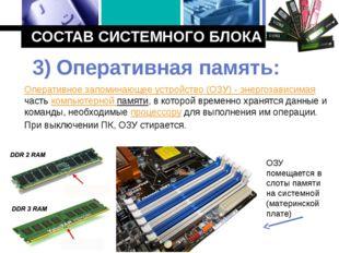 СОСТАВ СИСТЕМНОГО БЛОКА Оперативное запоминающее устройство (ОЗУ) - энергозав