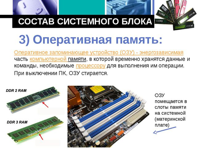СОСТАВ СИСТЕМНОГО БЛОКА Оперативное запоминающее устройство (ОЗУ) - энергозав...