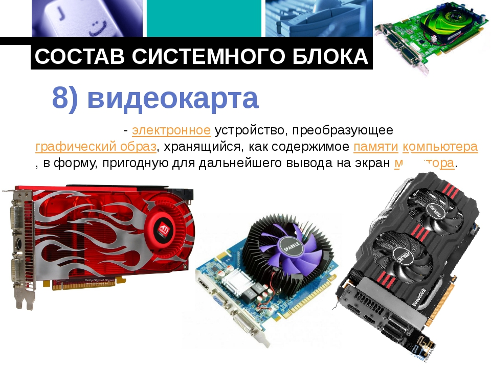 СОСТАВ СИСТЕМНОГО БЛОКА Видеока́рта - электронное устройство, преобразующее г...