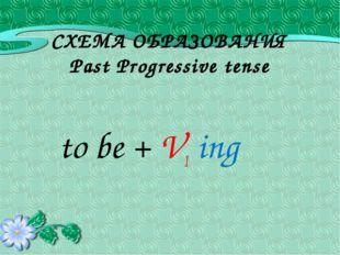 СХЕМА ОБРАЗОВАНИЯ Past Progressive tense to be + V1 ing