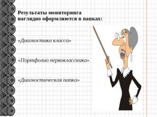 Результаты мониторинга наглядно оформляются в папках: «Диагностика класса» «