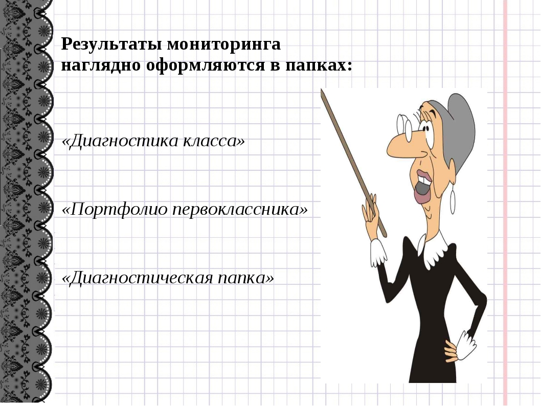 Результаты мониторинга наглядно оформляются в папках: «Диагностика класса» «...