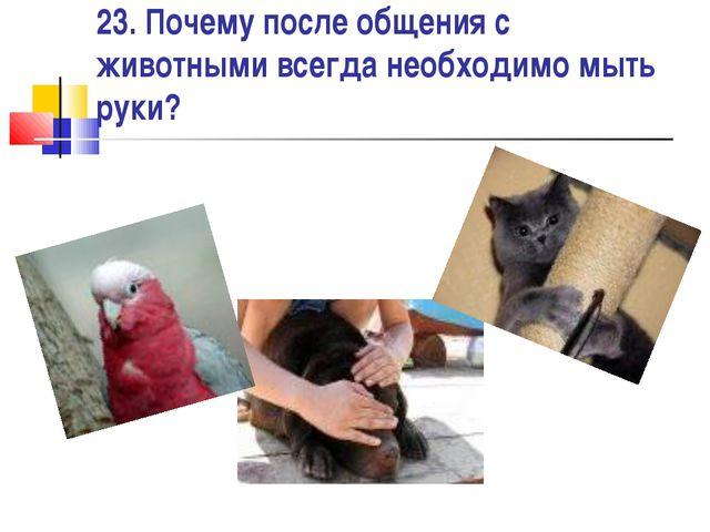 23. Почему после общения с животными всегда необходимо мыть руки?