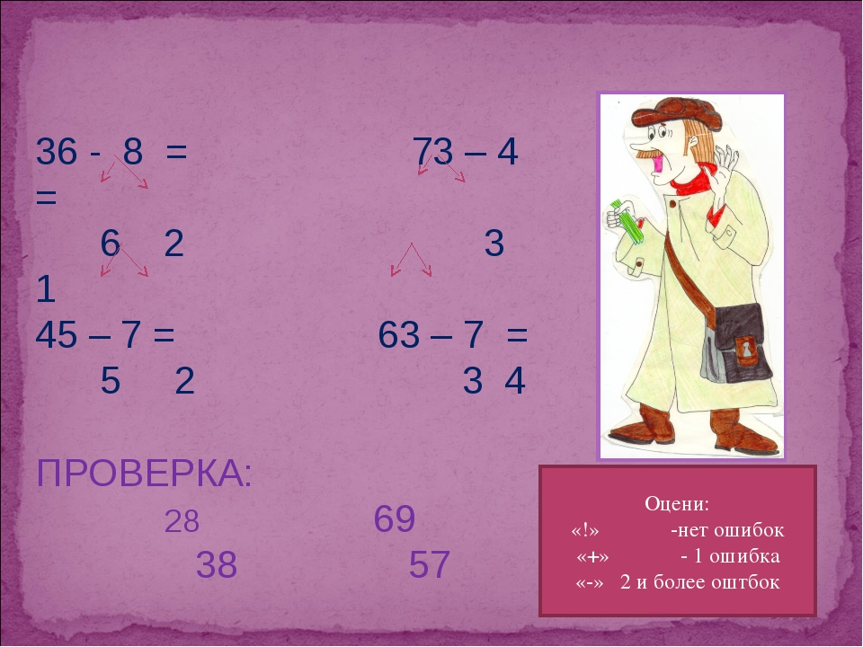 36 - 8 = 73 – 4 = 6 2 3 1 45 – 7 = 63 – 7 = 5 2 3 4 ПРОВЕРКА: 69 38 57 Оцени:...