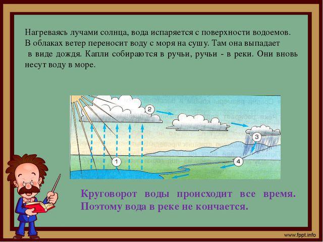 Нагреваясь лучами солнца, вода испаряется с поверхности водоемов. В облаках в...