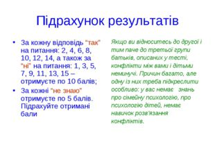 """Підрахунок результатів За кожну відповідь """"так"""" на питання: 2, 4, 6, 8, 10, 1"""