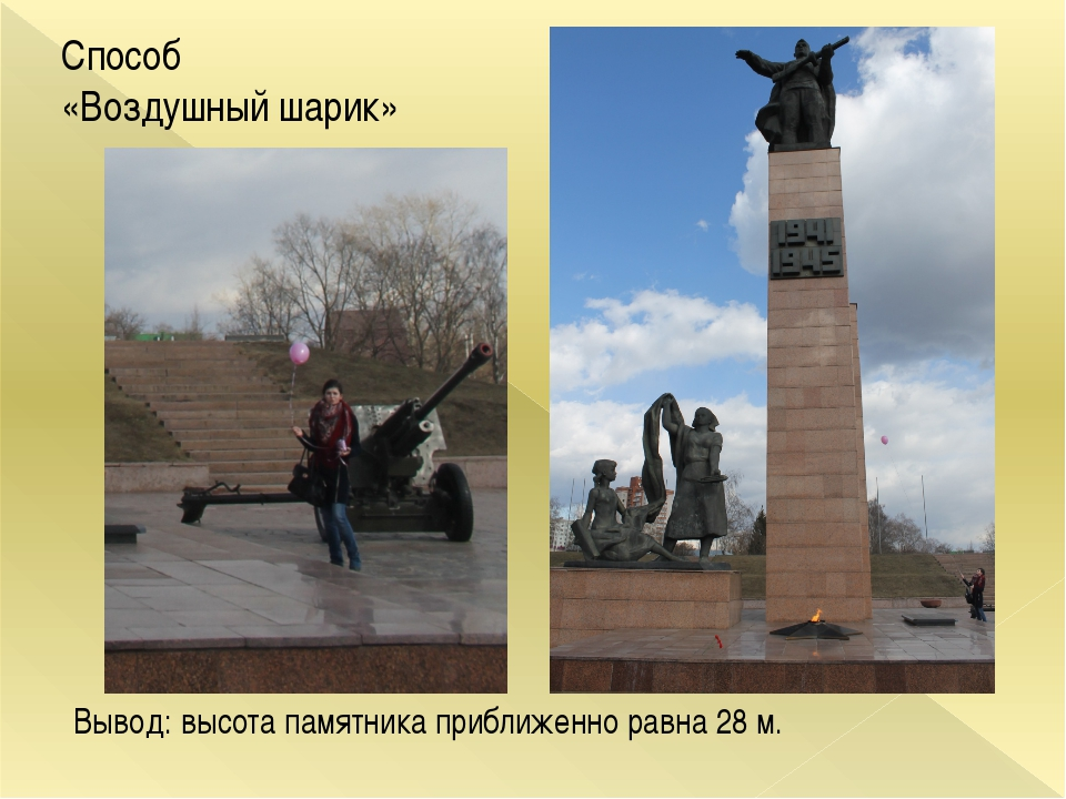 Способ «Воздушный шарик» Вывод: высота памятника приближенно равна 28 м.