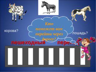 корова? лошадь? зебра? пешеходный переход Кто поможет вам перейти через дорогу?