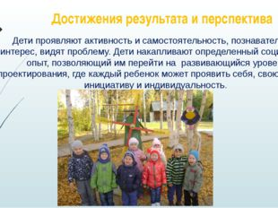Достижения результата и перспектива Дети проявляют активность и самостоятельн