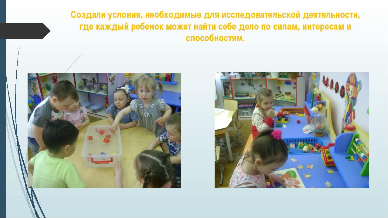 Создали условия, необходимые для исследовательской деятельности, где каждый р...