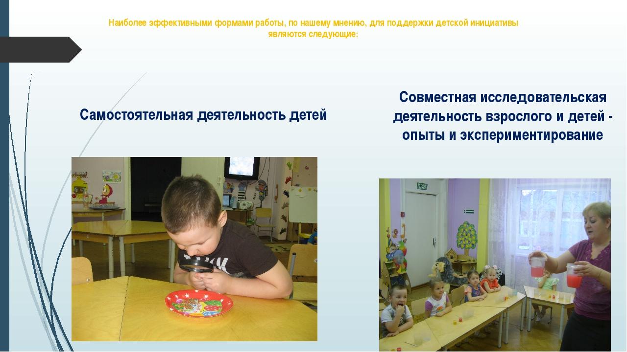 Наиболее эффективными формами работы, по нашему мнению, для поддержки детской...