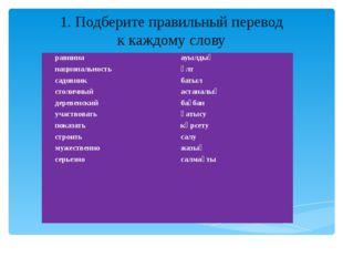 1. Подберите правильный перевод к каждому слову равнина национальность садовн