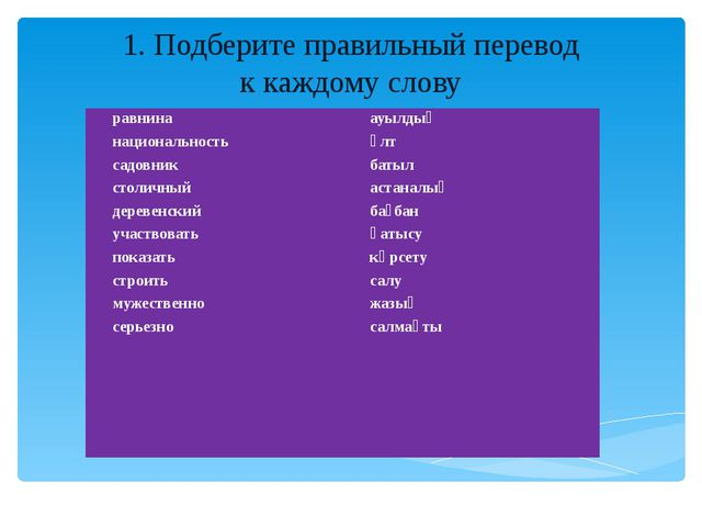 1. Подберите правильный перевод к каждому слову равнина национальность садовн...