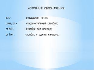 УСЛОВНЫЕ ОБОЗНАЧЕНИЯ:  в.п.- воздушная петля; соед. ст.- соединительный стол