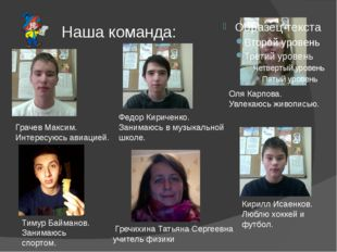 Наша команда: Грачев Максим. Интересуюсь авиацией. Федор Кириченко. Занимаюсь