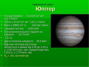 Юпітер Площа поверхні 6,1419×1010 км² 121,9 Землі Об'єм 1,4313×1015 км³ 1321,