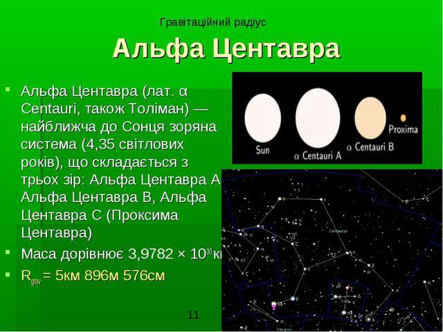 Альфа Центавра Альфа Центавра (лат. α Centauri, також Толіман) — найближча до...