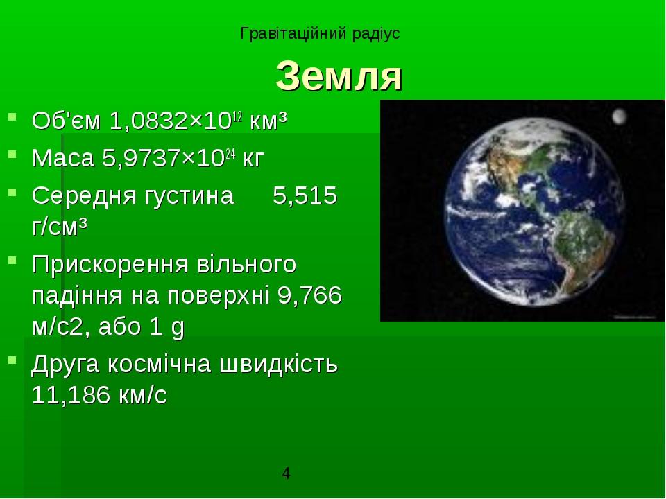 Земля Об'єм 1,0832×1012 км³ Маса 5,9737×1024 кг Середня густина5,515 г/см³ П...
