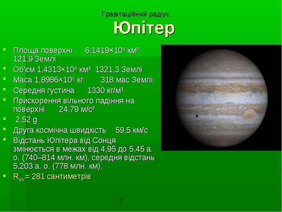 Юпітер Площа поверхні 6,1419×1010 км² 121,9 Землі Об'єм 1,4313×1015 км³ 1321,...