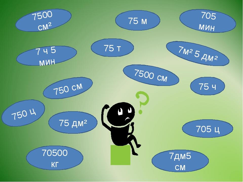 75 м 750 см 7м² 5 дм² 7дм5 см 7500 см 75 дм² 7500 см² 75 ч 70500 кг 75 т 705...
