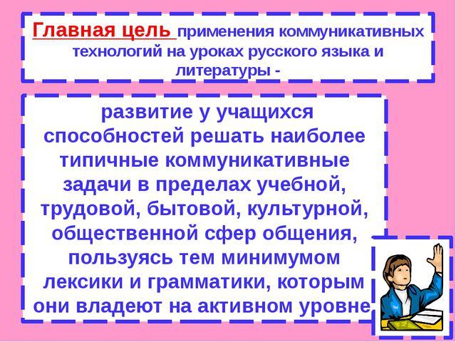 Главная цель применения коммуникативных технологий на уроках русского языка и...