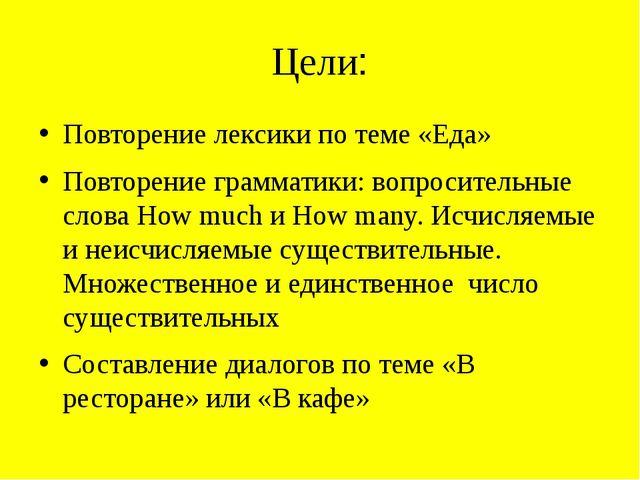 Цели: Повторение лексики по теме «Еда» Повторение грамматики: вопросительные...