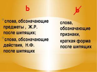 Ь слова, обозначающие предметы , Ж.Р. после шипящих; слова, обозначающие дейс