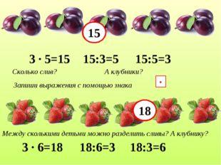 Запиши выражения с помощью знака ∙ 3 ∙ 5=15 15:3=5 15:5=3 3 ∙ 6=18 18:6=3 18: