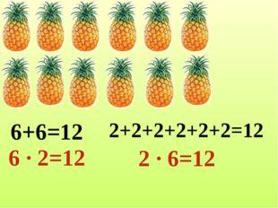 6+6=12 6 ∙ 2=12 2+2+2+2+2+2=12 2 ∙ 6=12