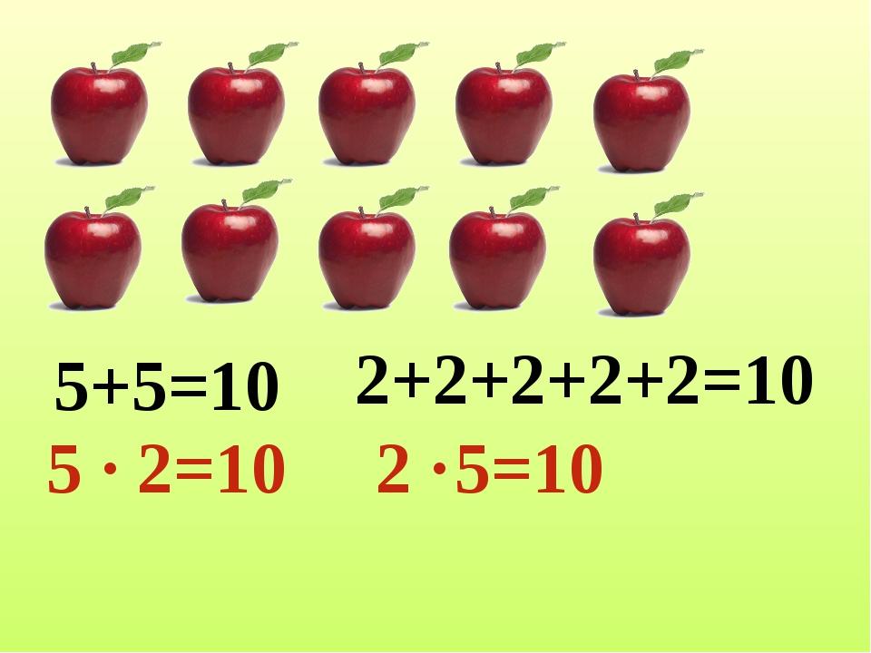 5+5=10 5 ∙ 2=10 2+2+2+2+2=10 2 ∙ 5=10