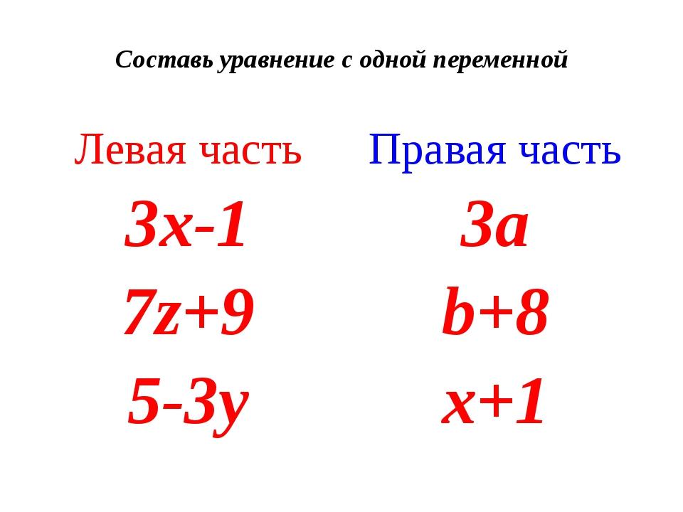 Составь уравнение с одной переменной Левая часть Правая часть 3х-1 3a 7z+9 b+...