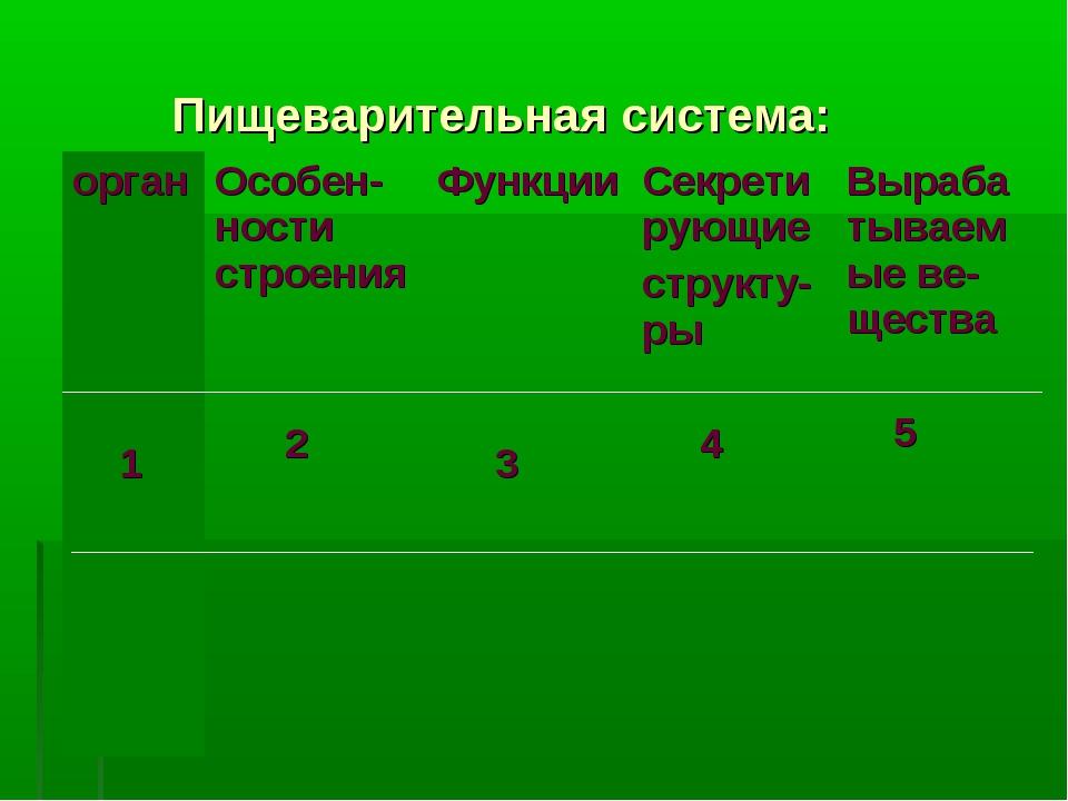 Пищеварительная система: орган 1 Особен-ности строения 2 Функции 3Секрети...