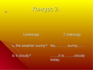 Конкурс 2. 1команда  2 команда Is the weather sunny? Is it cloudy?No, ………su
