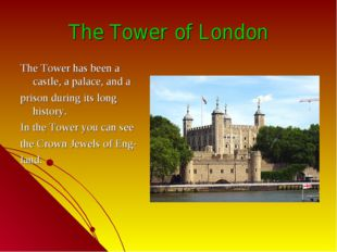 The Tower of London The Tower has been a castle, a palace, and a prison durin