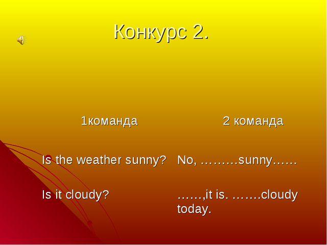 Конкурс 2. 1команда  2 команда Is the weather sunny? Is it cloudy?No, ………su...