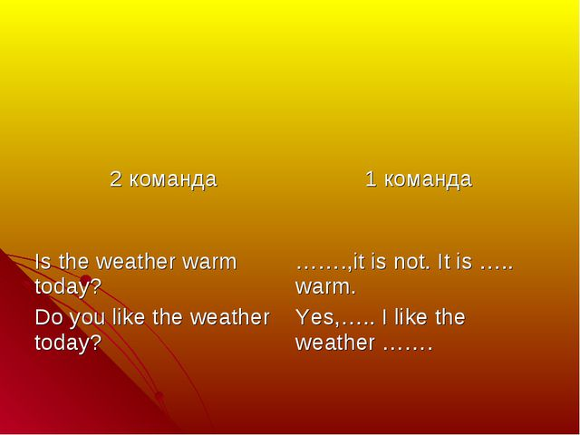 2 команда	 1 команда Is the weather warm today? Do you like the weather toda...