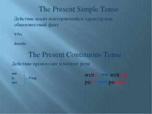 The Present Simple Tense The Present Continuous Tense Действие носит повторяю