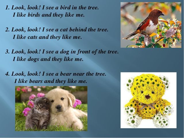 1. Look, look! I see a bird in the tree. I like birds and they like me.  2....