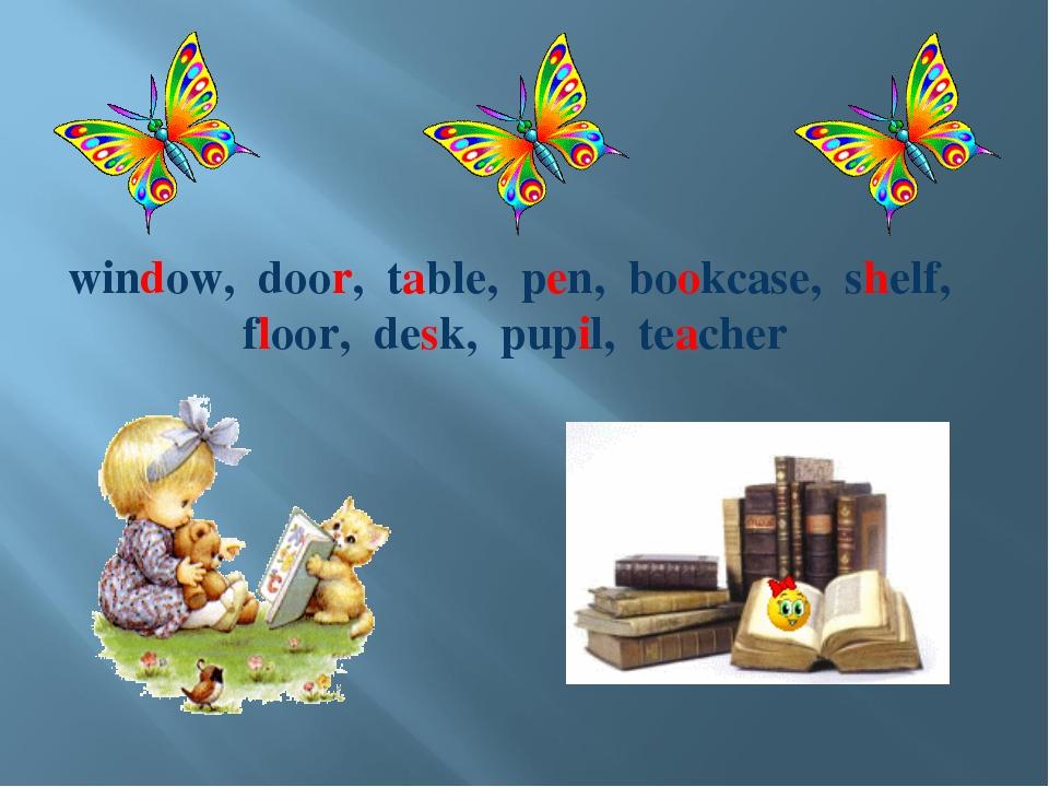 window, door, table, pen, bookcase, shelf, floor, desk, pupil, teacher