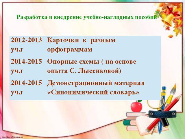 Разработка и внедрение учебно-наглядных пособий 2012-2013уч.г Карточки к разн...
