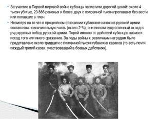 За участие в Первой мировой войне кубанцы заплатили дорогой ценой: около 4 ты