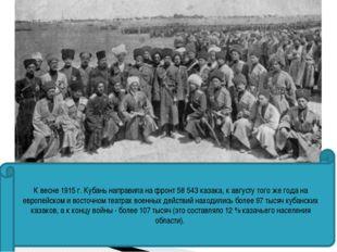 К весне 1915 г. Кубань направила на фронт 58 543 казака, к августу того же го